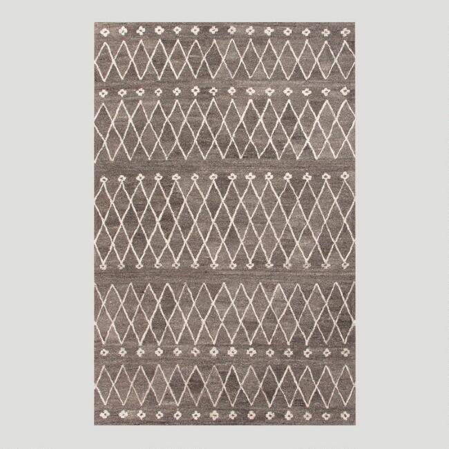 Gray Moroccan Motif Tufted Wool Rug
