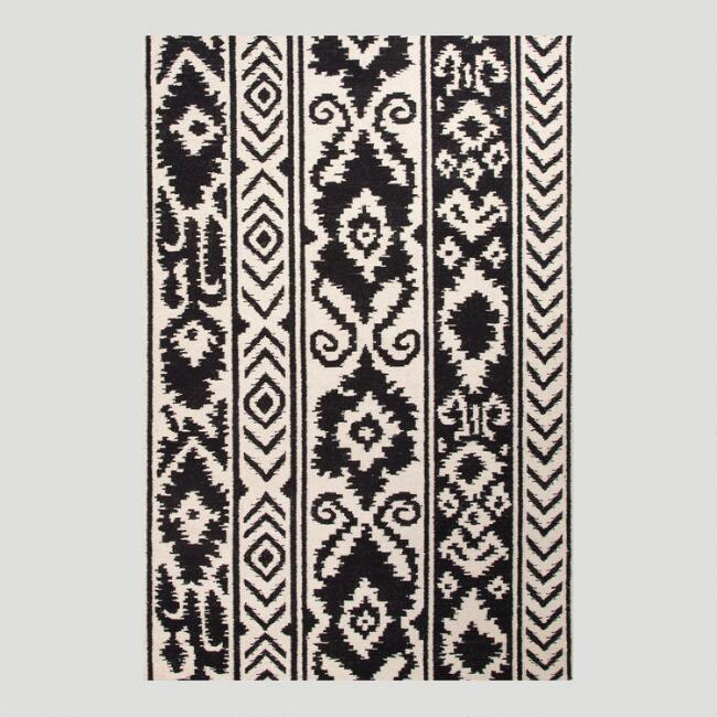 Black and White Lucine Flat-Woven Wool Rug
