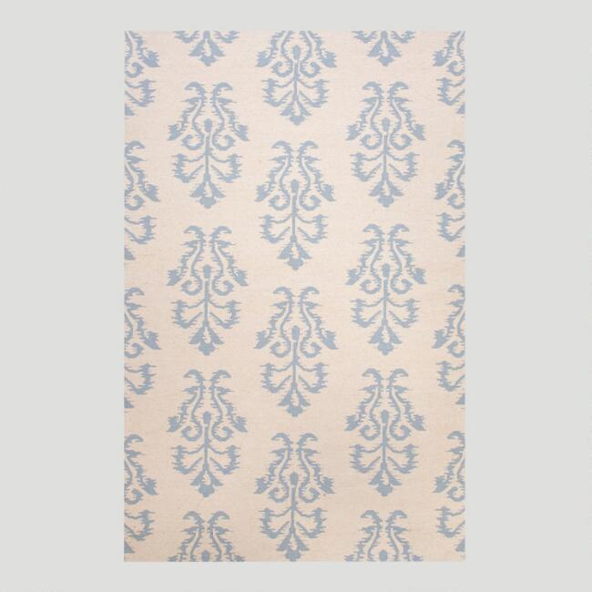 White and Blue Filigree Flat-Woven Wool Rug