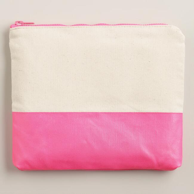 Pink Dipped Canvas Stationery Case