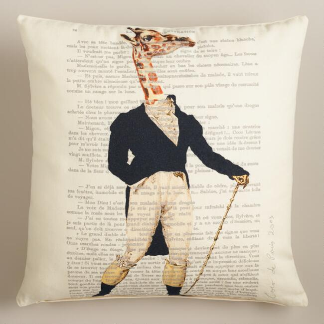 Giraffe Bonjour Paris Throw Pillow