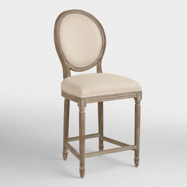 Awe Inspiring Natural Linen Paige Counter Stool Gmtry Best Dining Table And Chair Ideas Images Gmtryco