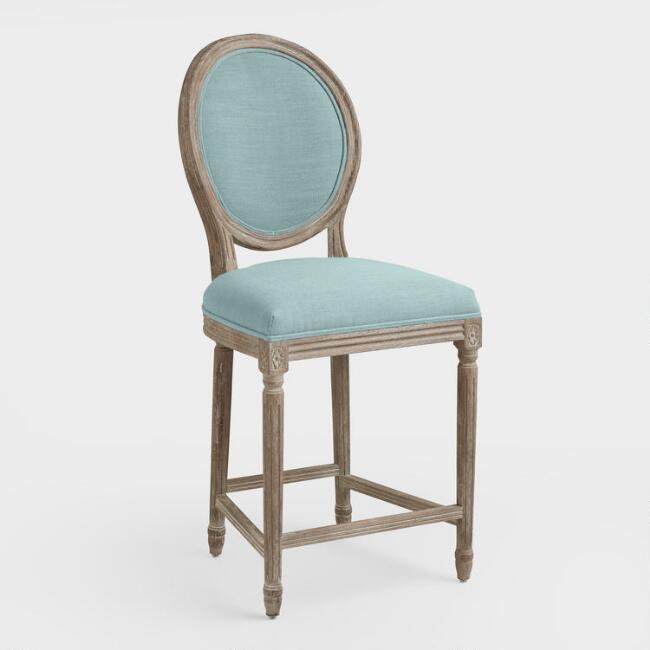 Blue Linen Paige Counter Stool
