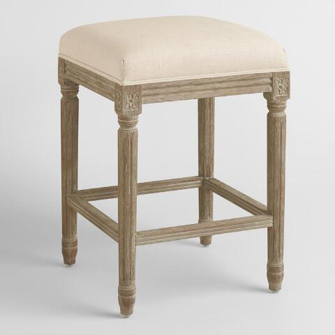 Natural Linen Paige Backless Counter Stool World Market