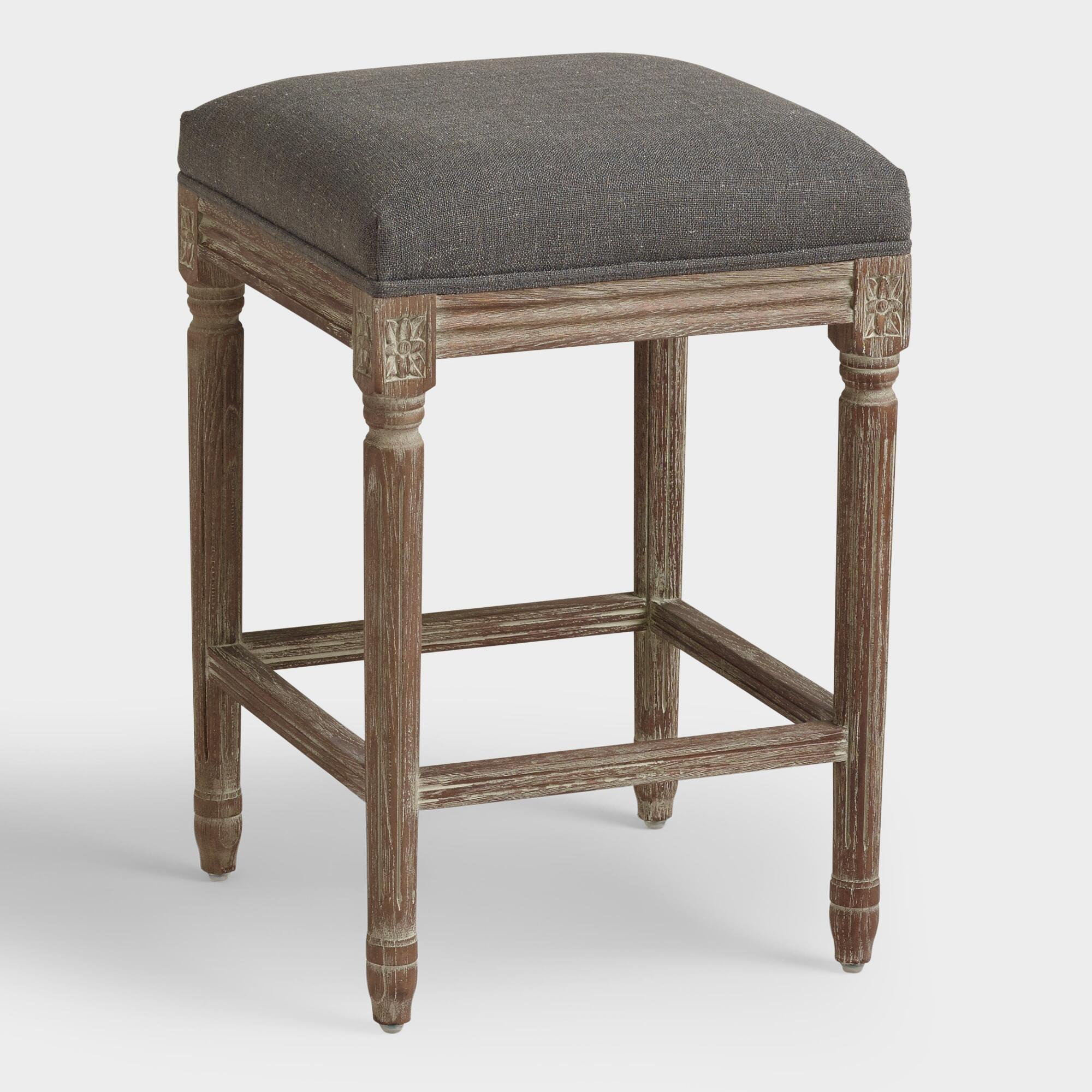 charcoal linen paige backless counter stool  world market -