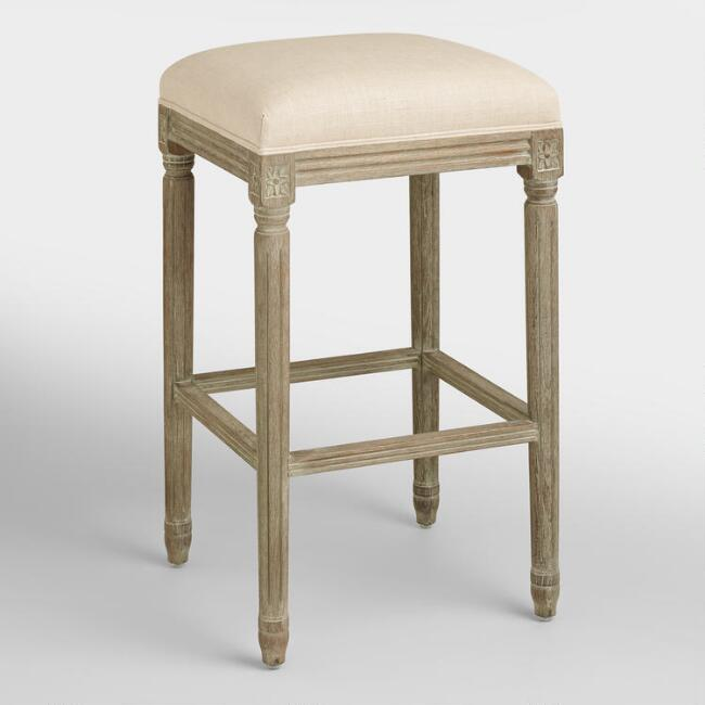 Natural Linen Paige Backless Barstool