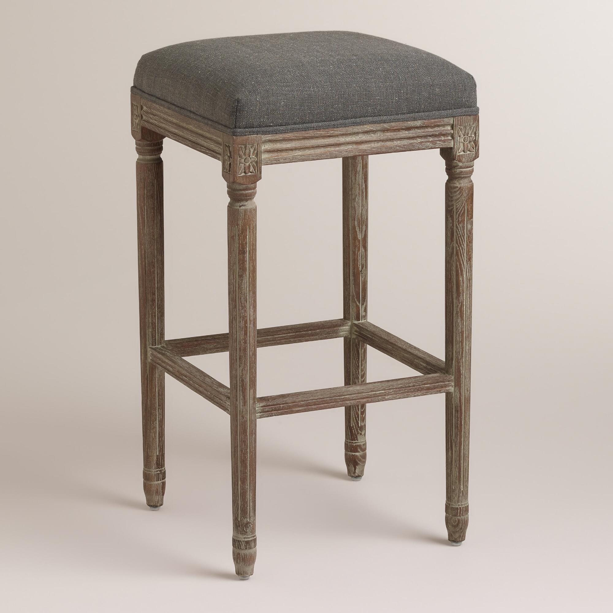 Charcoal Linen Paige Backless Barstool: Gray - Fabric by World Market