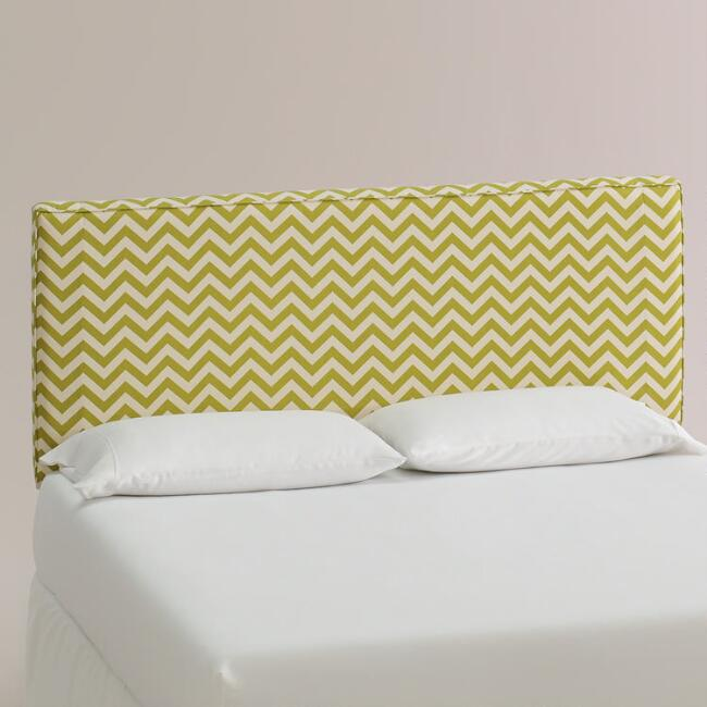 Green Zigzag Loran Upholstered Headboard