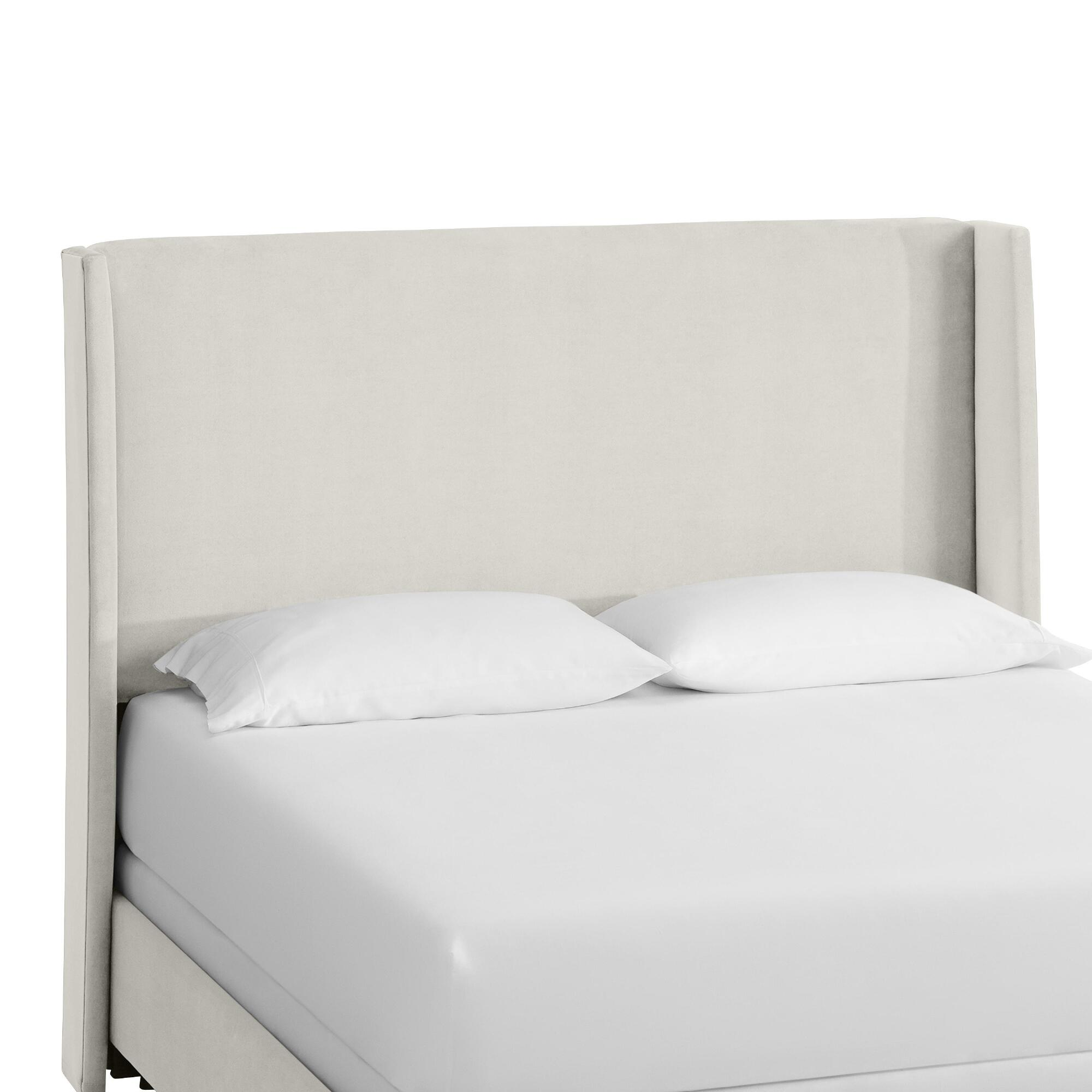 Velvet Bryn Upholstered Bed: White - Fabric - Full Bed by World Market Full/White