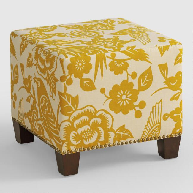 Maize Canary McKenzie Upholstered Ottoman
