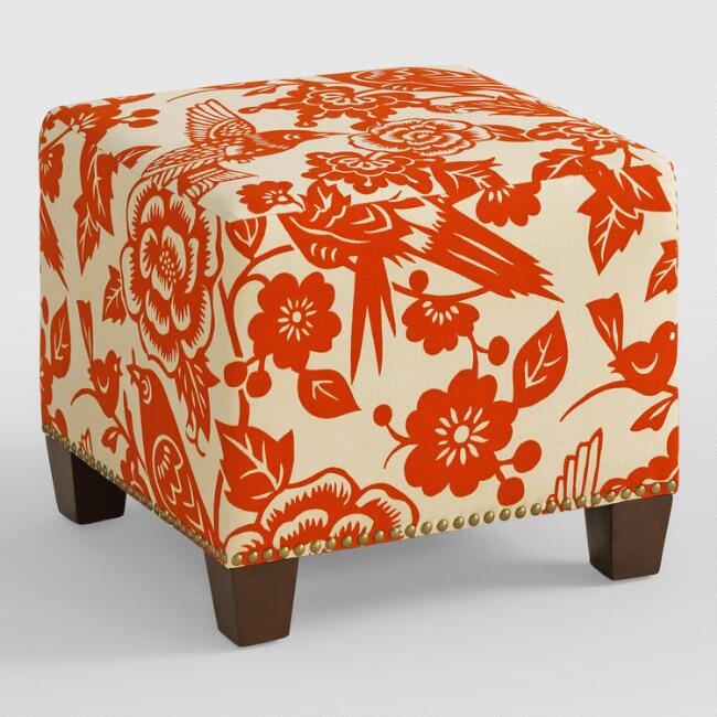 Tangerine Canary McKenzie Upholstered Ottoman