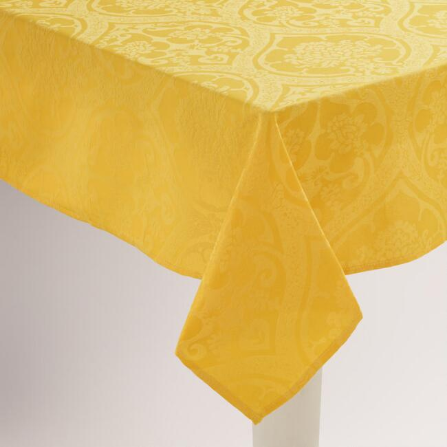 Yellow Damask Ogee Tablecloth