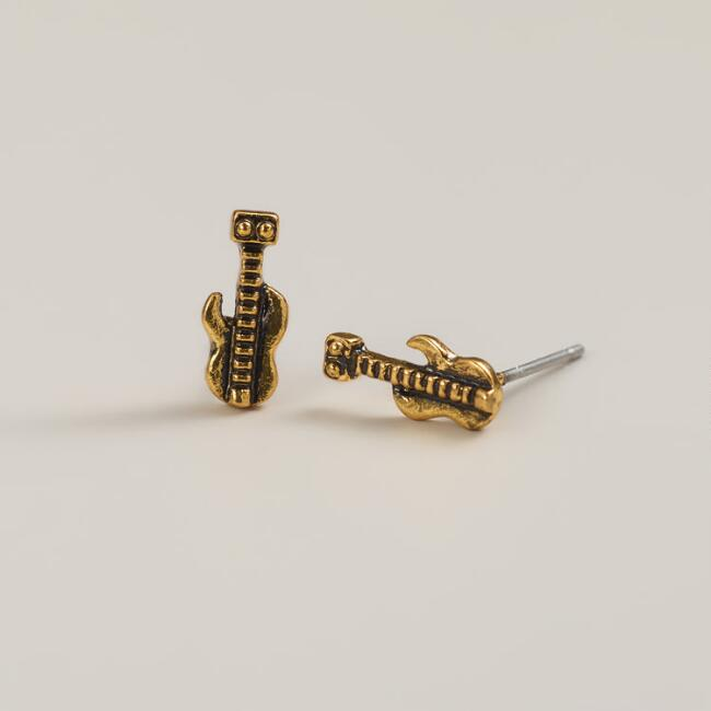 Gold Guitar Stud Earrings