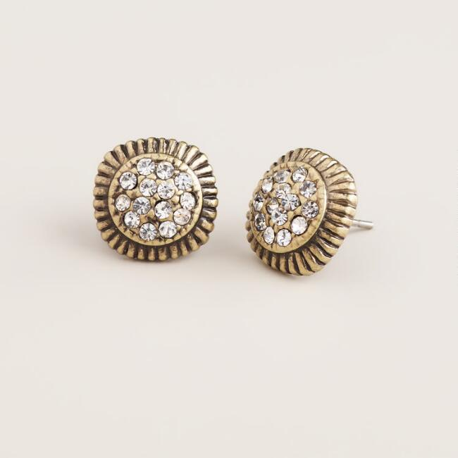 Gold and Clear Pave Stud Earrings