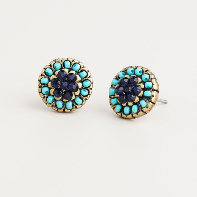 Turquoise and Blue Stud Earrings