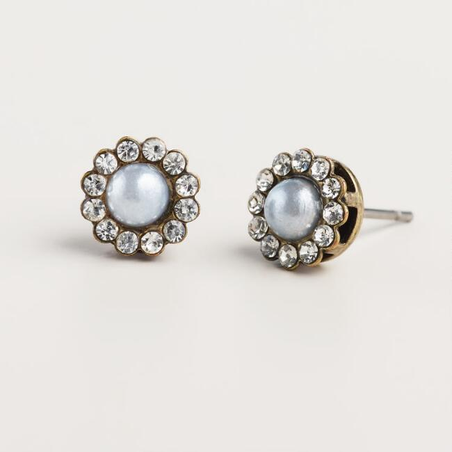 Gray Pearl Rhinestone Stud Earrings