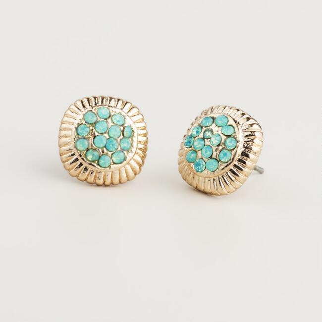 Gold and Green Pave Stud Earrings