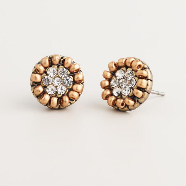 Matte Gold and Clear Round Stud Earrings
