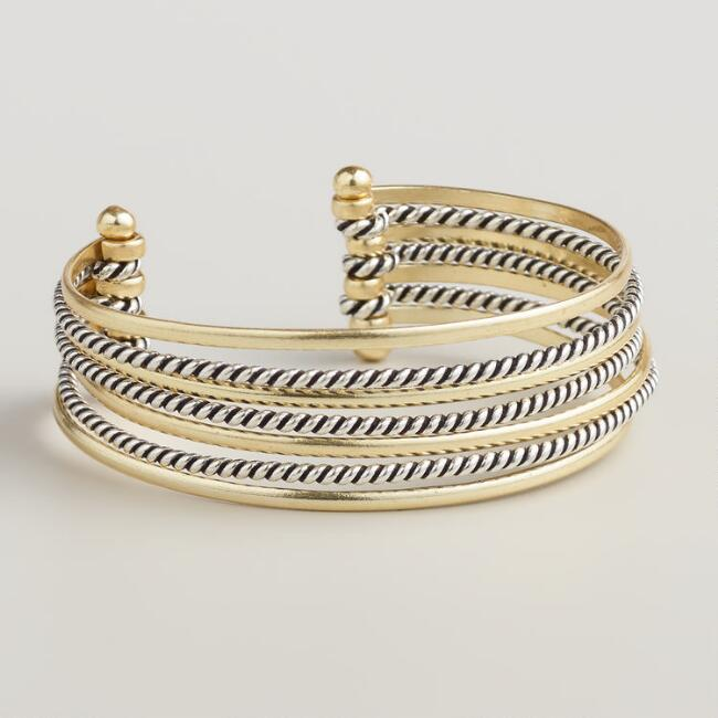 Gold and Silver Row Cuff Bracelet