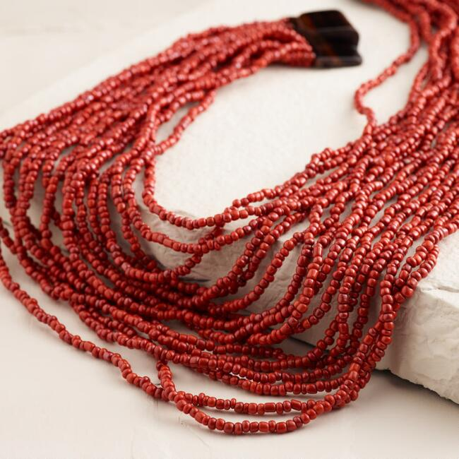 Red Chunky Wood Clasp Necklace
