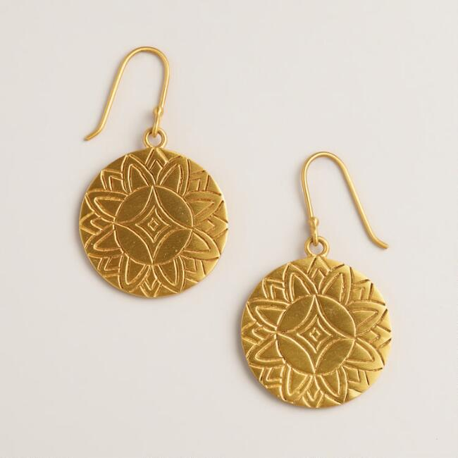 Gold Sun Charm Drop Earrings