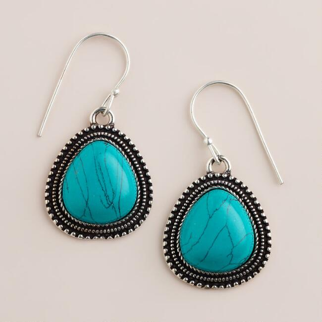 Turquoise Etched Teardrop Drop Earrings