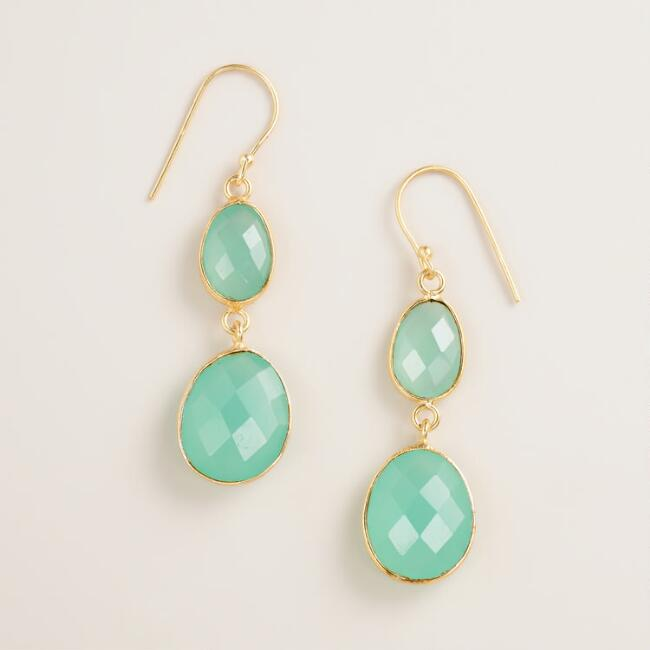 Aqua Facet Double Drop Earrings