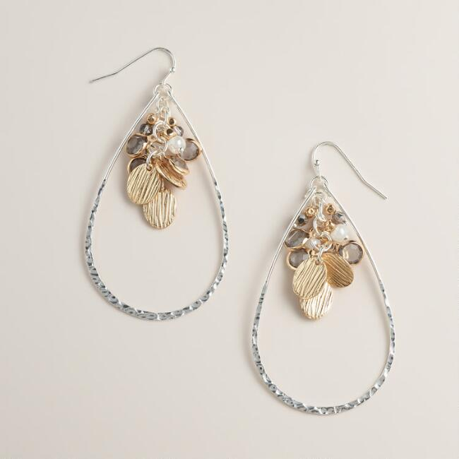 Silver and Gold Teardrop Dangle Drop Earrings