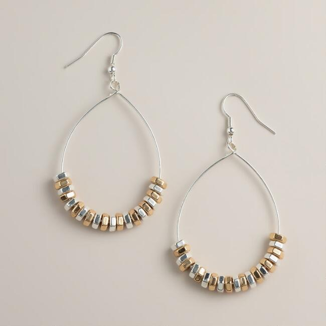 Bead and Wire Teardrop Drop Earrings
