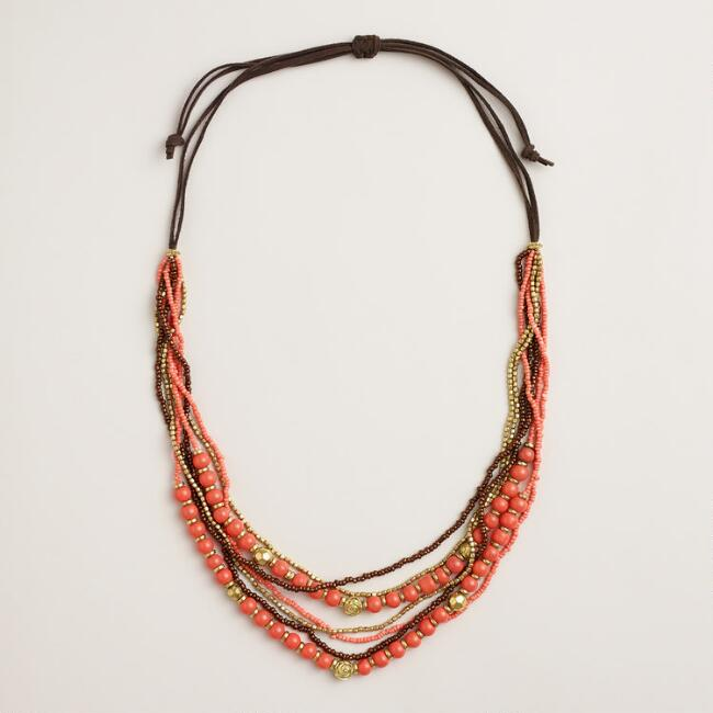 Coral Beaded Suede Necklace