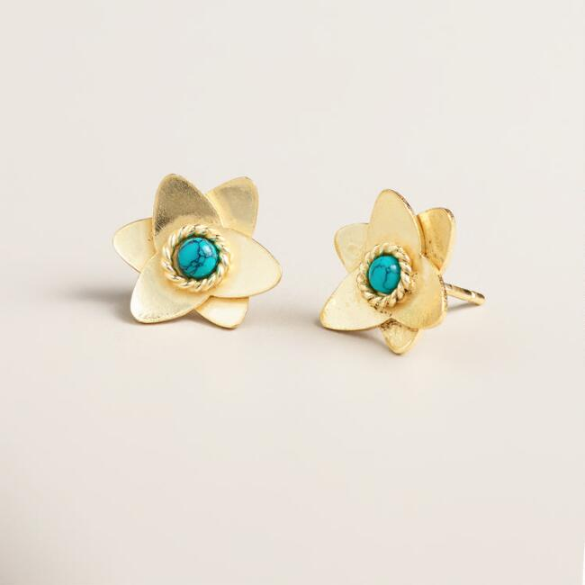 Gold and Turquoise Flower Stud Earrings