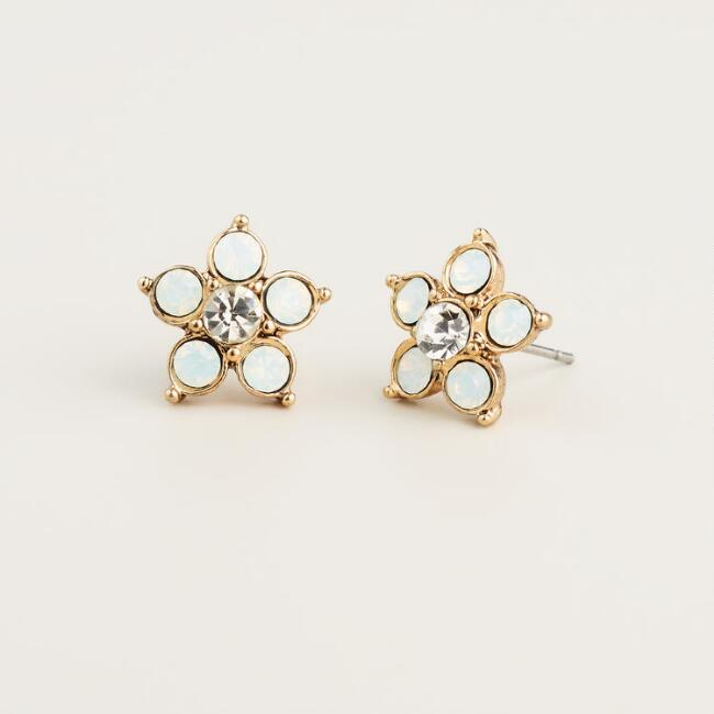White Opal Flower Stud Earrings