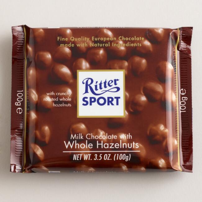 Ritter Sport Milk Chocolate with Whole Hazelnuts, Set of 10