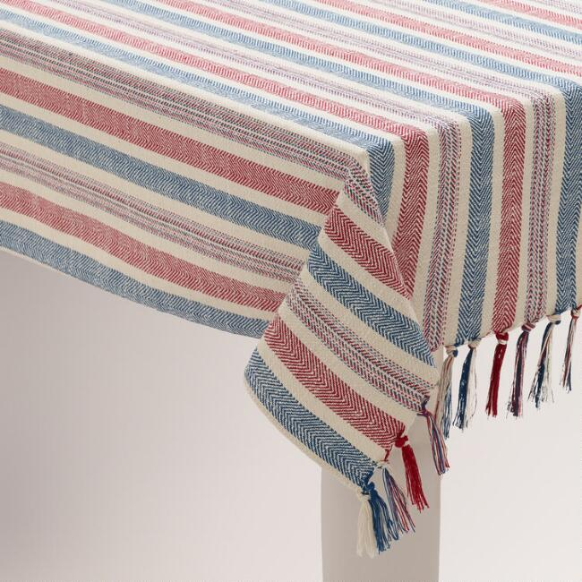 Red, White and Blue Herringbone Tablecloth