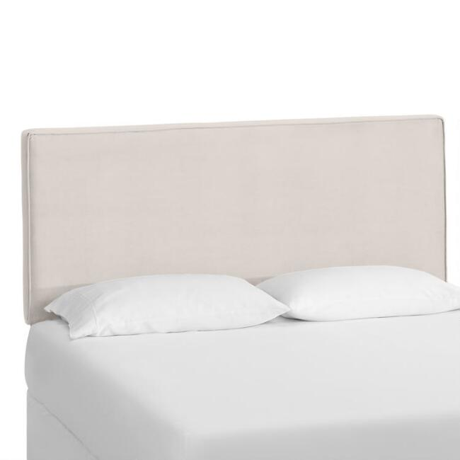 Dove Gray Velvet Loran Upholstered Headboard