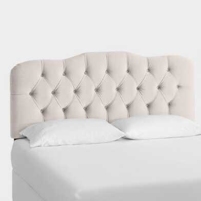 Dove Gray Velvet Tufted Rae Upholstered Headboard