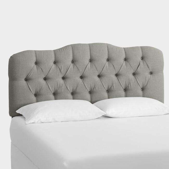 Gray Linen Tufted Rae Upholstered Headboard