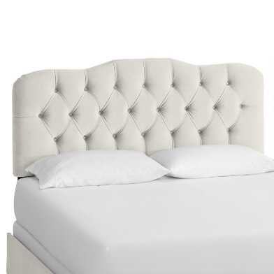 Dove Gray Velvet Tufted Rae Upholstered Bed