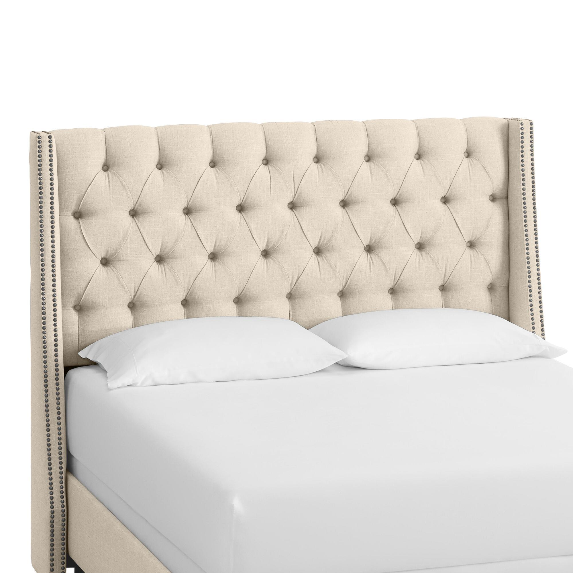 Linen Kellerman Upholstered Bed: Natural - Fabric - Full Bed by World Market Talc/Full