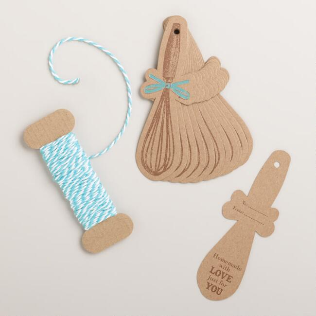 Turquoise Whisk Gift Tags, 12-Count