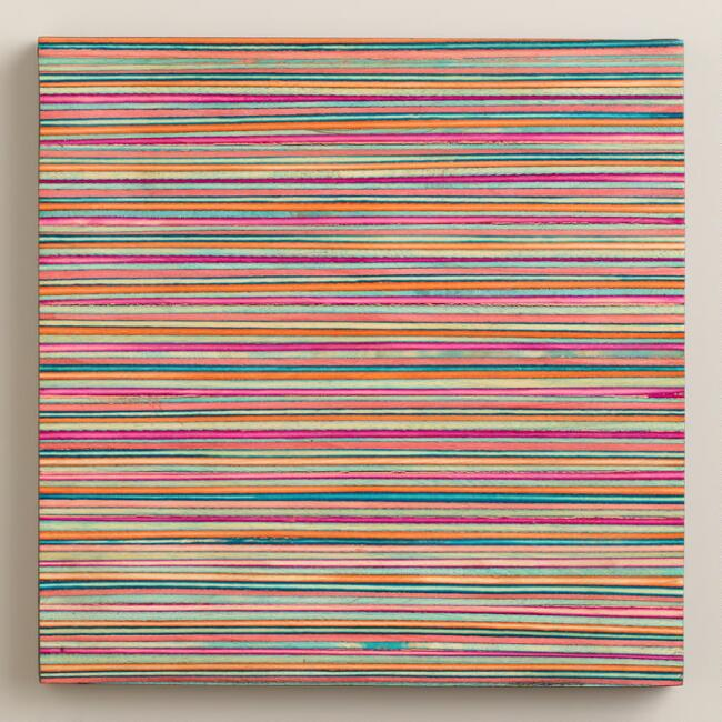 Multicolor Striped Wood Trivet