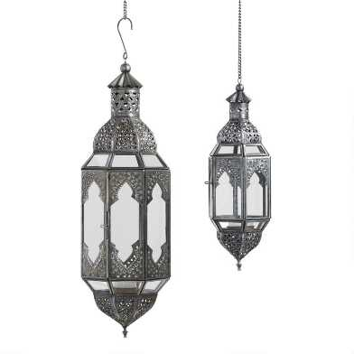 Antiqued Zinc Latika Hanging Lantern