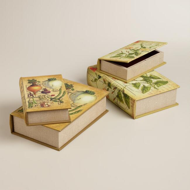 Botanical Book Boxes, Set of 2