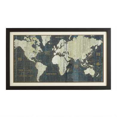 Dark Blue Old World Map Framed Wall Art