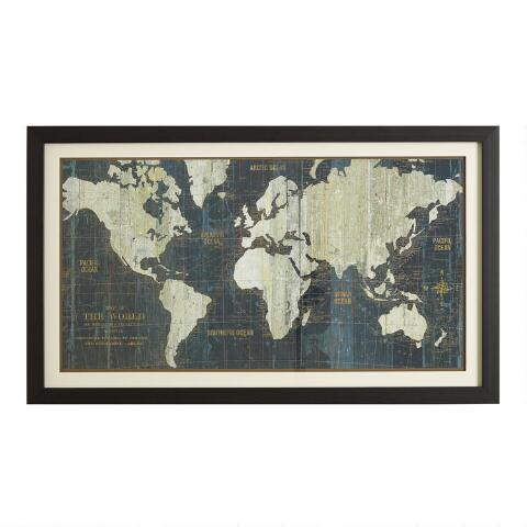 Blue Old World Map