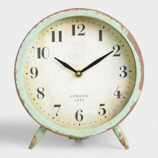Blue Faux Agate Tabletop Clock With Brass Stand World Market