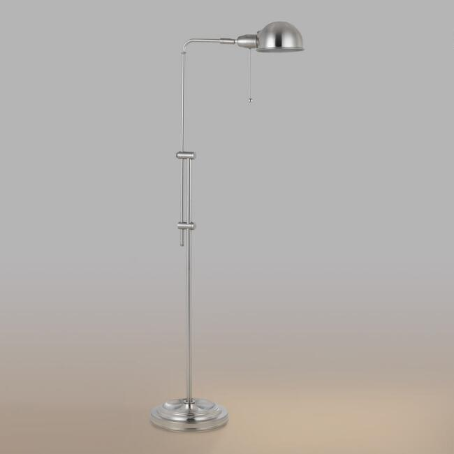 Brushed Steel Adjustable Crosby Pharmacy Floor Lamp