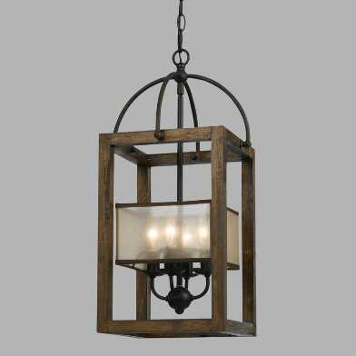 Wood and Bronze 4 Light Mission Chandelier