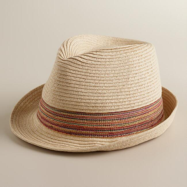 Natural Fedora Hat with Multicolored Ribbon
