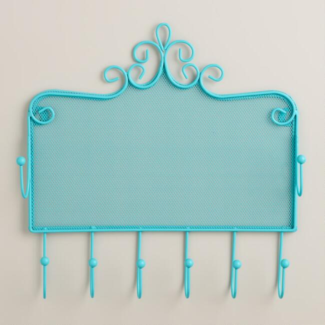 Turquoise Wall Jewelry Holder with Hooks